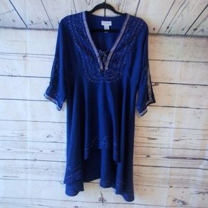 Soft Surroundings hi low tunic blue silver small
